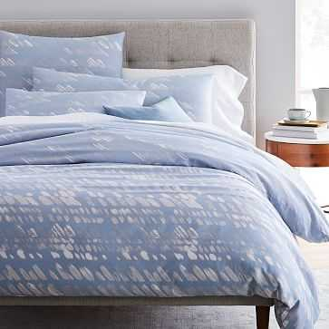 Organic Sateen Slanted Dots, Full/Queen, Blue Bird - West Elm
