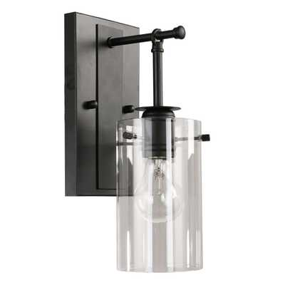 DSI 1-Light Black Sconce with Clear Glass Shade - Home Depot