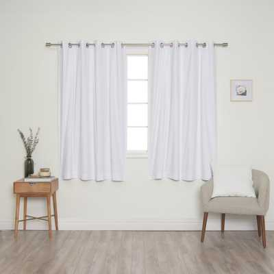 Best Home Fashion White Solid Cotton Blackout Thermal Grommet Curtain Panel Set - 52 in. x 63 in. (2-Panel) - Home Depot