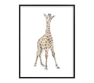Baby Giraffe Watercolor Wall Art by Minted(R), Black, 18x24 - Pottery Barn Kids