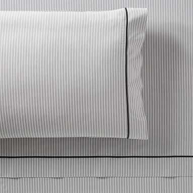 Oxford Stripe Sheet Set, Queen, Gray - Pottery Barn Teen