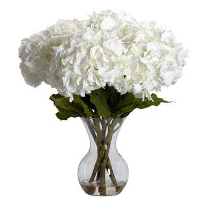23 in. H White Large Hydrangea with Vase Silk Flower Arrangement - Home Depot