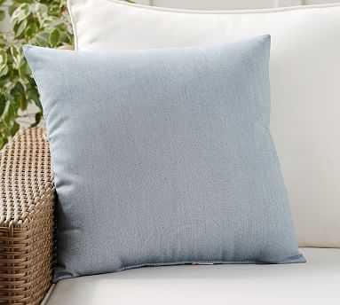 "Sunbrella(R) Meridian Chambray Indoor/Outdoor Pillow, 20"", Chambray - Pottery Barn"