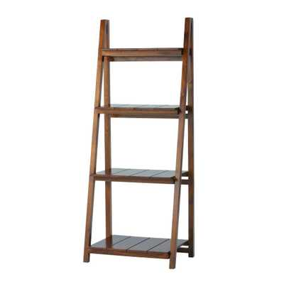 Nolan Warm Brown Folding Ladder Bookcase - 4 Shelf - Home Depot