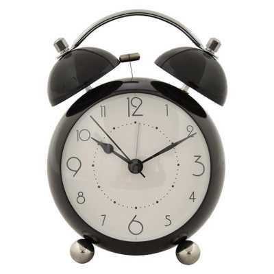 6 in. Black Metal Alarm Clock - Home Depot