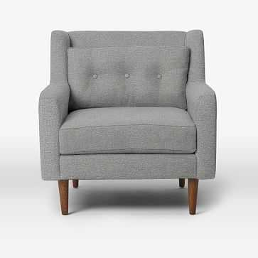 Crosby Armchair, Chenille Tweed, Feather Gray - West Elm