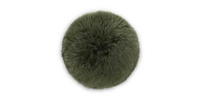 Lanna Green Round Sheepskin Pillow - Article