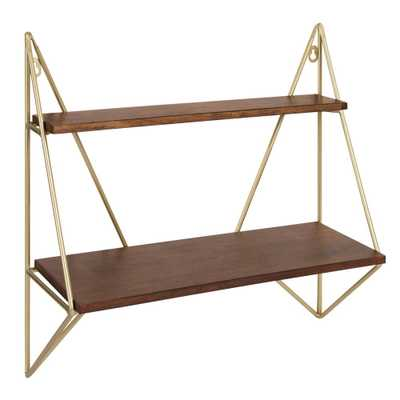 Kate and Laurel Melita 7 in. x 20 in. x 19 in. Gold Wood Decorative Wall Shelf - Home Depot
