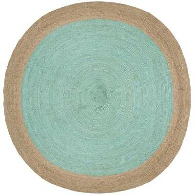 Cayla Fiber Hand-Woven Aqua/Natural Area Rug - Wayfair