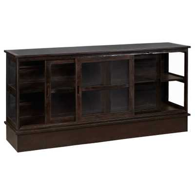 Grinnell Rustic Lodge Iron Glass Door Display TV Cabinet - Kathy Kuo Home