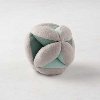 Teal Baby Plush Ball Rattle - Crate and Barrel