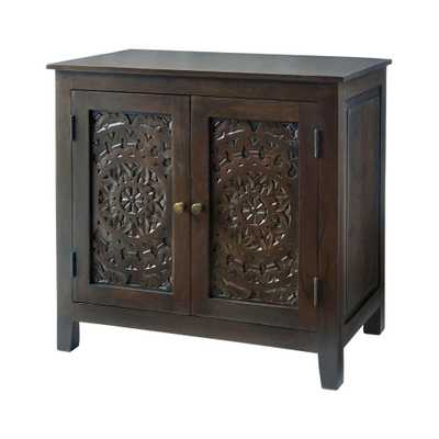 Home Decorators Collection Katya Dark Coffee Hand Carved Wood Nightstand (32 in W. X 30 in H.) - Home Depot