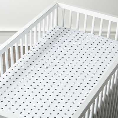 Organic Black Plus Sign Crib Fitted Sheet - Crate and Barrel