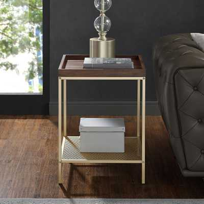 Walker Edison Furniture Company 18 in. Dark Walnut/Gold Square Wood Side Table with Lower Mesh Shelf - Home Depot