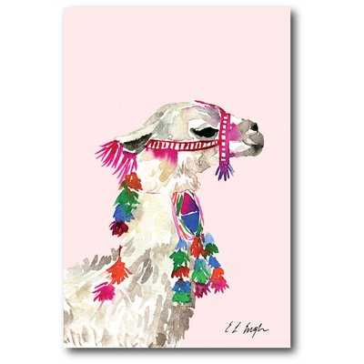 'Little Llama' Graphic Art Print on Canvas in Pink - Wayfair