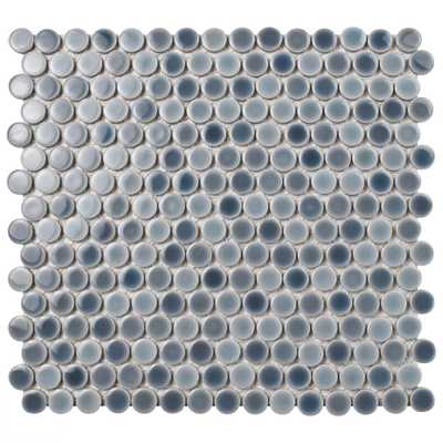 Merola Tile Hudson Penny Round Stillwater 12 in. x 12-5/8 in. x 5 mm Porcelain Mosaic Tile, Multicolored Grey/High Sheen - Home Depot