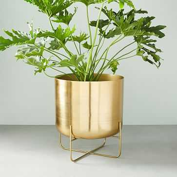 Spun Metal Standing Planter, Brass, Low - West Elm
