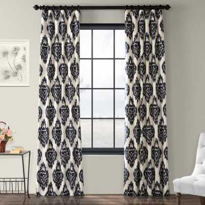 Exclusive Fabrics & Furnishings Ikat Blue Room Darkening Printed Cotton Curtain - 50 in. W x 96 in. L - Home Depot