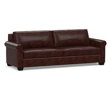 York Roll Arm Leather Grand Sofa, Down Blend Wrapped Cushions, Legacy Tobacco - Pottery Barn