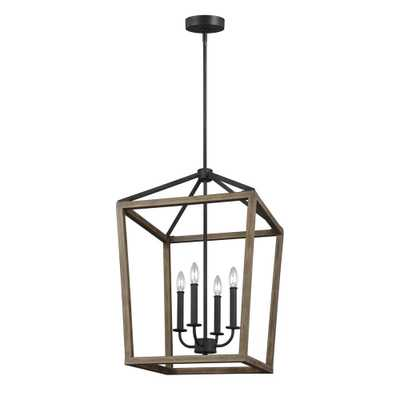 Feiss Gannet 18 in. W. 4-Light Weathered Oak Wood and Antique Forged Iron Chandelier - Home Depot