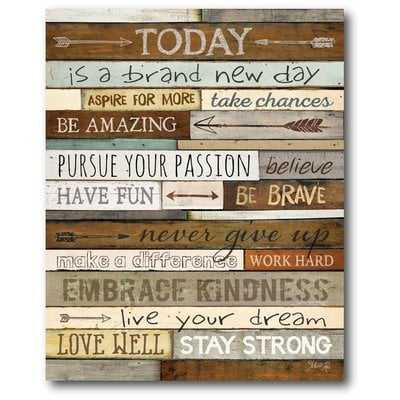 'Today' Textual Art on Wrapped Canvas - Wayfair