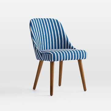 Midcentury Upholstered Dining Chair, Wood Leg, Rainstorm Blue, Painted Stripe, Pecan - West Elm
