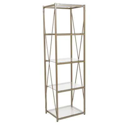 Flash Furniture Clear/Matte Gold Bookcase - Home Depot