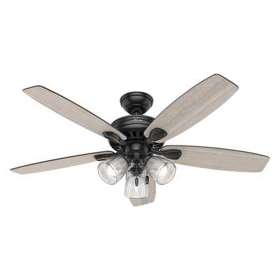 Hunter Highbury II 52 in. LED Indoor Matte Black Ceiling Fan with Light Kit - Home Depot