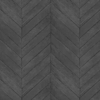 Patton Shades of Black Faux Chevron Wood Wallpaper, Black/Grey/Pepper/Ink - Home Depot