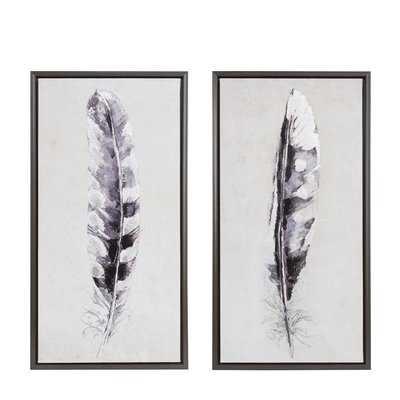 'Flight Feathers' 2 Piece Framed Graphic Art Print Set on Canvas - Wayfair