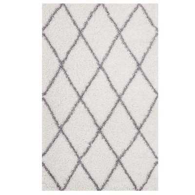 Naveen Diamond Lattice Gray/Ivory Area Rug - Birch Lane