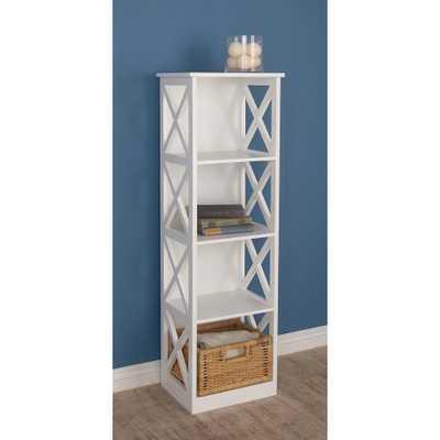 White Wooden Shelving Unit - Home Depot
