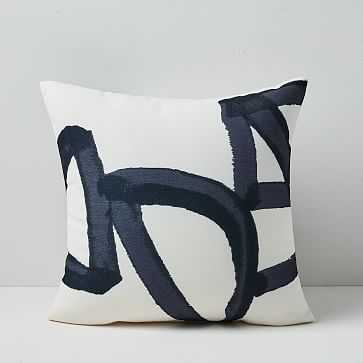 "Outdoor Bold Lines Pillow, 18""x18"", Iron - West Elm"