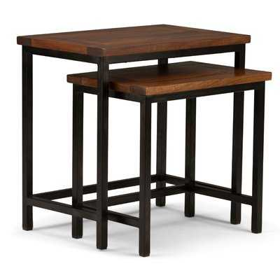 Studebaker 2 Piece Nesting Tables, Dark Cognac Brown - Wayfair
