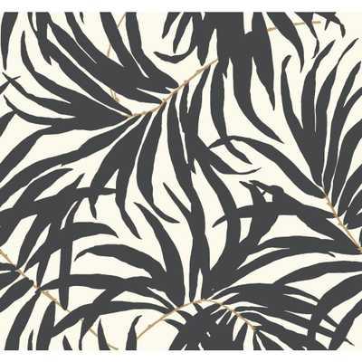 Tropics Bali Leaves Wallpaper, Off White/Darkest Grey/Tan - Home Depot