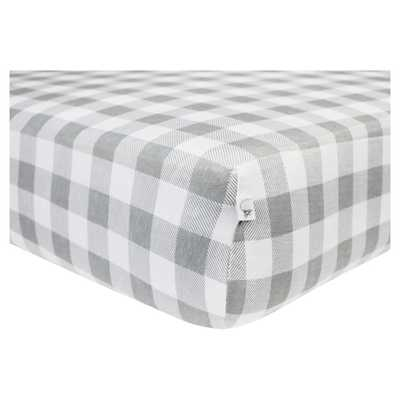 Burt's Bees Baby Organic Fitted Crib Sheet - Buffalo Check - Fog Gray - Target