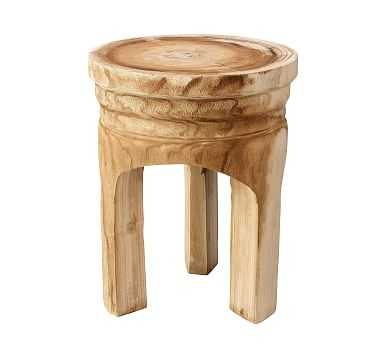 Roselle Wood Accent Stool, Natural - Pottery Barn