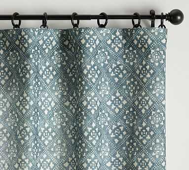 "Leada Print Blackout Curtain, Blue Multi, 108 x 50"" - Pottery Barn"