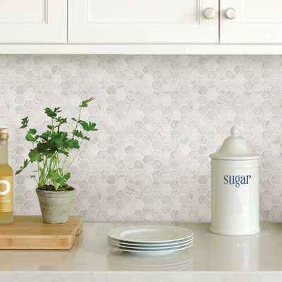 White Hexagon Marble Peel Stick Backsplash Tiles - Home Depot