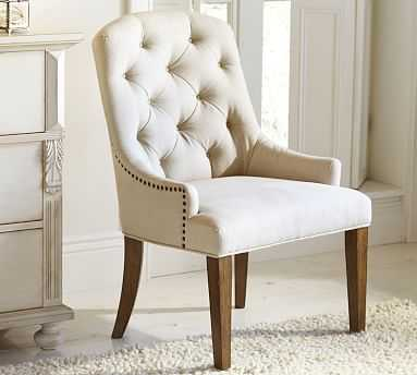 Lorraine Upholstered Tufted Chair with Natural Finish Frame, Premium Performance Basketweave Ivory - Pottery Barn