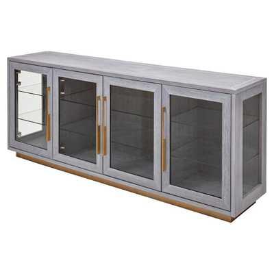 Emma Modern Classic 4-Door Clear Glass Shelves Grey Oak Wood Sideboard Cabinet - Kathy Kuo Home