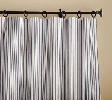 "Antique Stripe Print Drape, 50 x 96"", Blue - Pottery Barn"