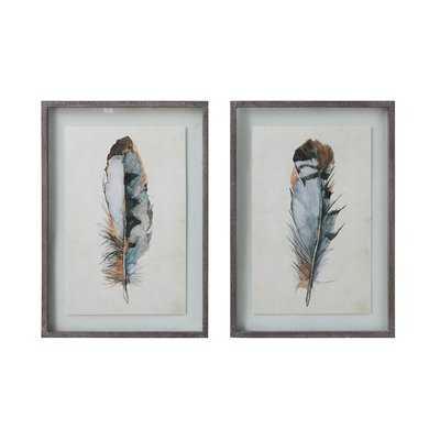 'Feathers' 2 Piece Framed Print Set - Wayfair