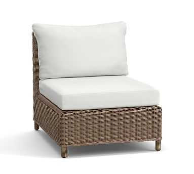 Torrey All-Weather Wicker Armless Chair & Cushion, Natural - Pottery Barn