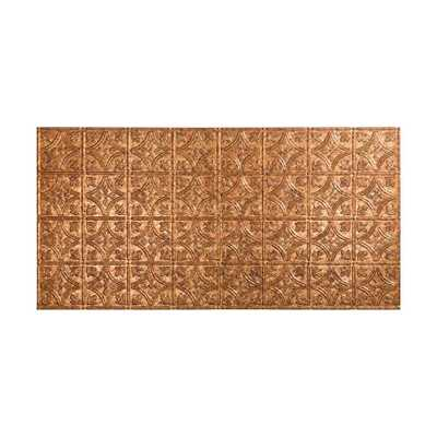 Fasade Traditional Style # 1 - 2 ft. x 4 ft. Vinyl Glue-Up Ceiling Tile in Cracked Copper - Home Depot