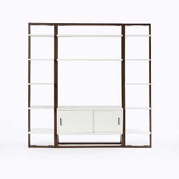 Ladder Shelf Storage Media Set 1: Media Console + 2 X Narrow Shelves - White Lacquer/Dark Mindi - West Elm