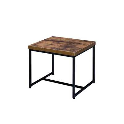 Bob Weathered Oak and Black End Table - Home Depot