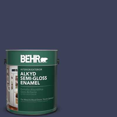 BEHR 1 gal. #T16-10 Blue Vortex Semi-Gloss Enamel Alkyd Interior/Exterior Paint - Home Depot