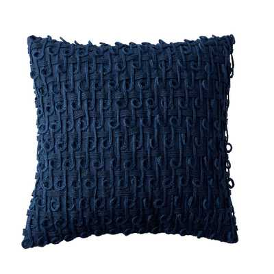 Embroidered Decorative Pillow Cover in Blue Geo, 18 in. x 18 in. - Home Depot