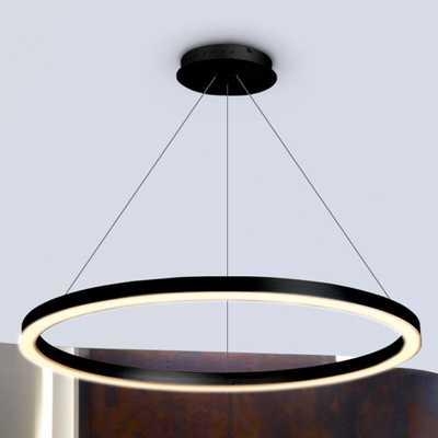 VONN Lighting Tania Round 24 in. 36-Watt Black Integrated LED Chandelier - Home Depot